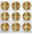 set of gold coins with different currency signs vector image vector image
