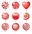 Set of red lollipops vector image vector image