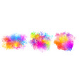 set three watercolor splatter stains design vector image