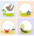sloth crab cancer starfish bat set of cards vector image vector image