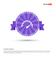 speedometer icon - purple ribbon banner vector image