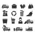 Trash recycle garbage waste icons vector image