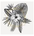 tropical flowers composition bouquet exotic vector image