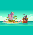tropical island treasure chest and pirate ship vector image