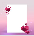 valentines day card with hearts geometric vector image vector image