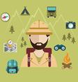 Wanderlust tourist person camping ans safari vector image