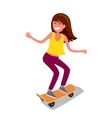 young girl riding skateboard vector image vector image