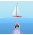 Hungry Shark Attack yacht ship from the ocean vector image