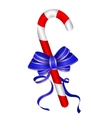 Christmas candy cane withblue bow vector image