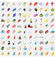 100 character icons set isometric 3d style vector image vector image