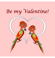 A couple of macaw parrots with a heart vector image vector image