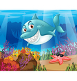 A shark and a starfish under the water vector image vector image