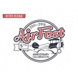 Air fest emblem Biplane label Retro Airplane vector image vector image