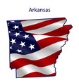 arkansas full american flag waving in wind vector image