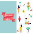 banner with people at park resting and having fun vector image vector image