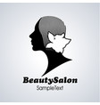 beauty salon icon silhouette of girl with flower vector image