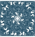 Blue floral ornament background vector image vector image