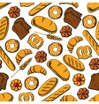 Bread and sweet buns seamless pattern backgorund vector image vector image