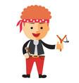 cartoon boy in pirate costume vector image vector image