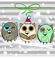 Christmas greeting card with owl and stripped vector image