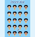 collection of cartoon boy facial emotions vector image