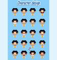 collection of cartoon boy facial emotions vector image vector image