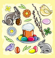 colored easter set with rabbit chicken easter vector image