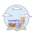 cute teapot with set drinks in landscape kawaii vector image vector image