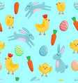 easter seamless pattern background with cute vector image vector image