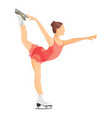 figure skater girl in short red dress skating vector image vector image
