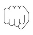 fist thin line icon forward punch vector image vector image