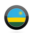 flag of rwanda shiny black round button vector image vector image