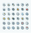 flat color thin line icons set with home vector image vector image