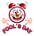 fools day time fun clock show lettering text vector image vector image