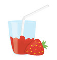 glass with juice of strawberry vector image