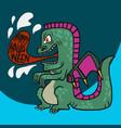 godzilla dragon monster halloween cartoon vector image vector image