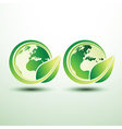 Green global label vector image vector image