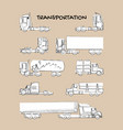 grunge style line sketch trucks and trailers vector image