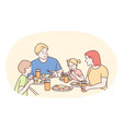 happy family having dinner or breakfast together vector image vector image