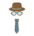 hat with glasses and tie vector image vector image