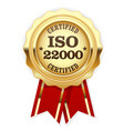 iso 22000 standard certified rosette - food safety vector image vector image