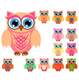 large set of cute multicolored cartoon owls for vector image