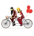 loving couple man and woman on bicycles vector image vector image