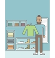 Man in clothing store vector image vector image