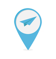 Map pointer with origami paper plane icon Blue mar vector image vector image