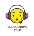 music listening emoji line icon sign vector image