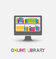 online e-book library design symbol laptop vector image