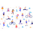 people in park seamless pattern white vector image vector image