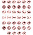 prohibited warning signs vector image vector image