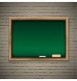 Realistic blackboard on wooden background vector image vector image